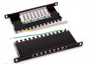"HY048R 1 O"" O.5u Shielded 8 Ports Patch Panel."